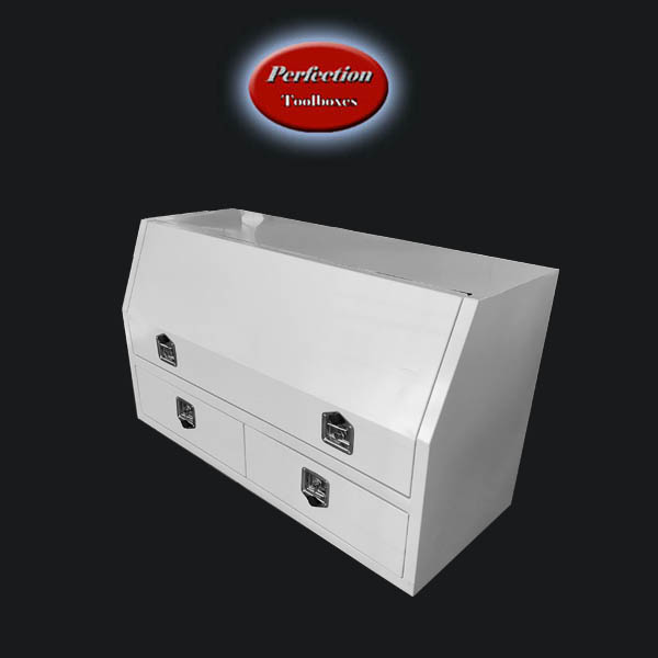 white powder coated toolbox with 2 drawers