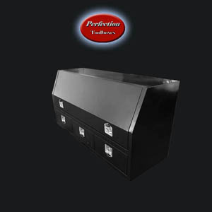 black powder coated toolboxes with drawers