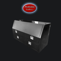 Black powder coated tool box with 2 drawer
