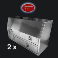 Aluminium plain mill finishes 2 drawers toolboxes 1500x600x850