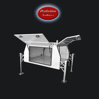 White powder coated aluminium jack off canopy 1650x1770x860 with dual ladder racks